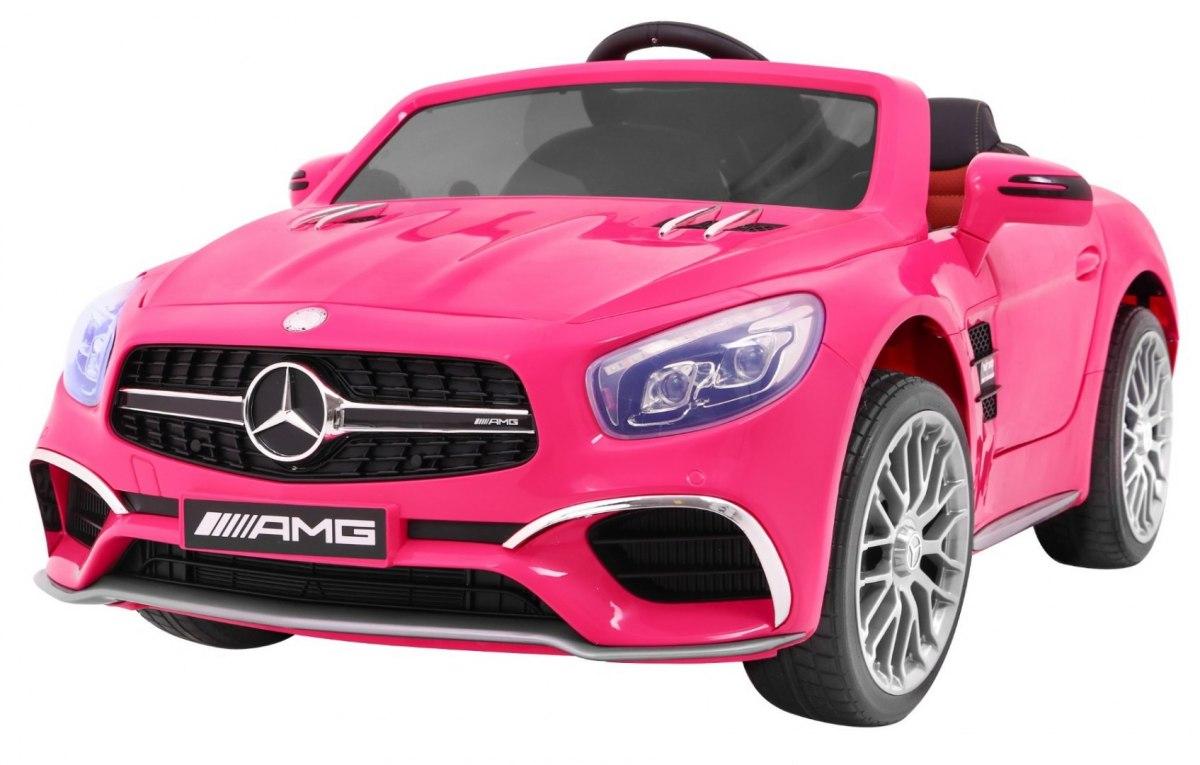 Masinuta electrica Mercedes SL65 AMG roz, cu roti din cauciuc