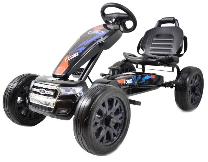 Kart Ford negru cu pedale pentru copii, roti cauciuc Eva