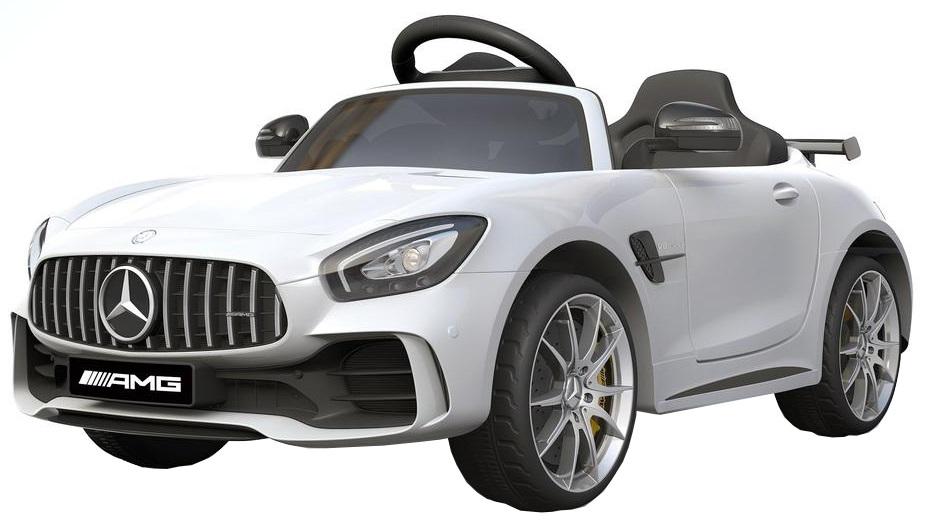 Masinuta electrica Premier Mercedes GT-R, 12V, roti cauciuc EVA, scaun piele ecologica, alb