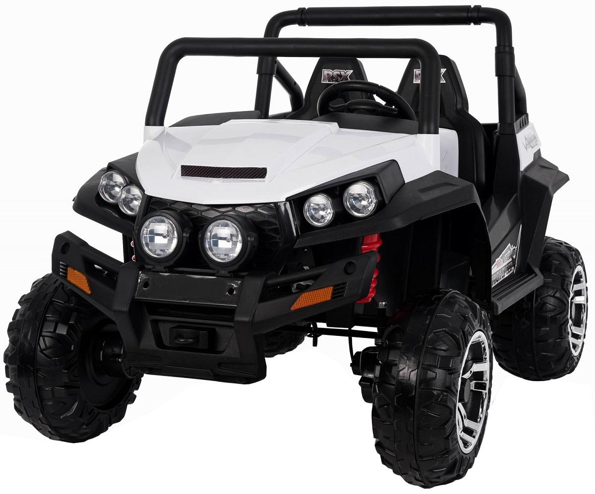 Masinuta electrica 4x4 Premier V-Twin, 12V, 2 locuri, roti cauciuc EVA, scaun piele ecologica, alb