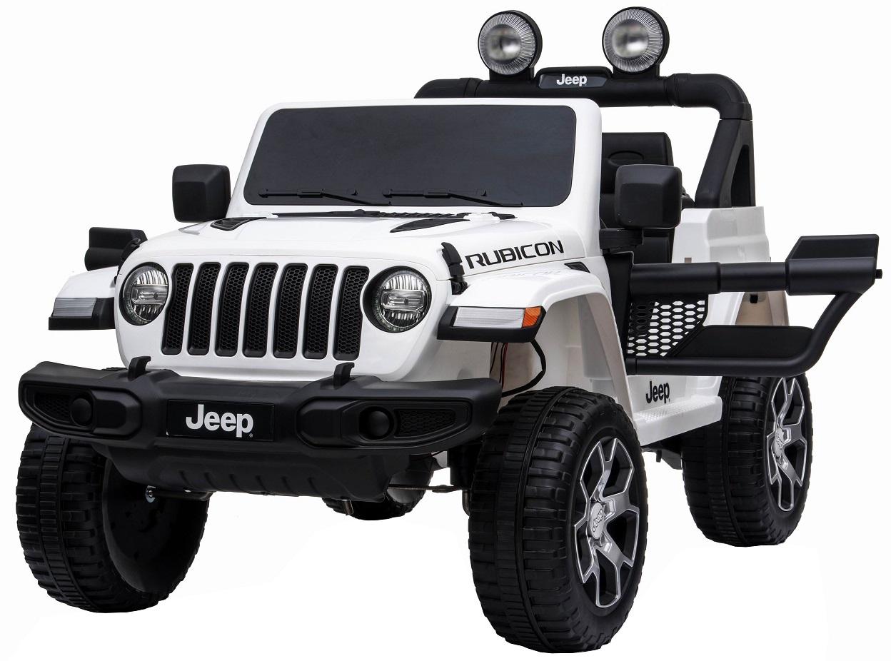 Masinuta electrica 4x4 Jeep Wrangler Rubicon 12V cu portiere alb