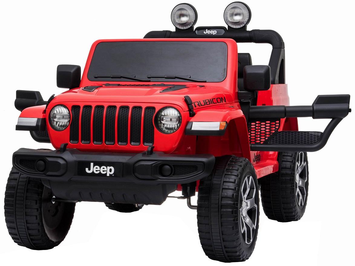Masinuta electrica 4x4 Premier Jeep Wrangler Rubicon, 12V, roti cauciuc EVA, scaun piele ecologica, rosu