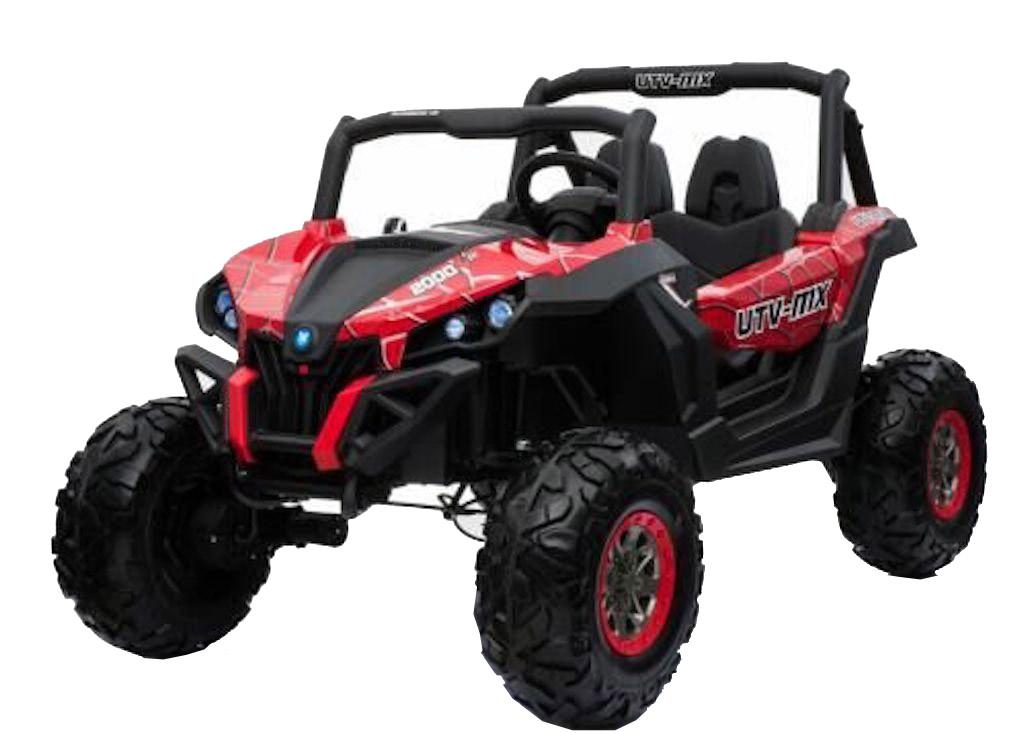 Buggy electric pentru 2 copii Premier 4x4 Superstar, ecran LCD, MP4, cu 2 baterii, roti cauciuc EVA, scaun piele ecologica, spider, rosu