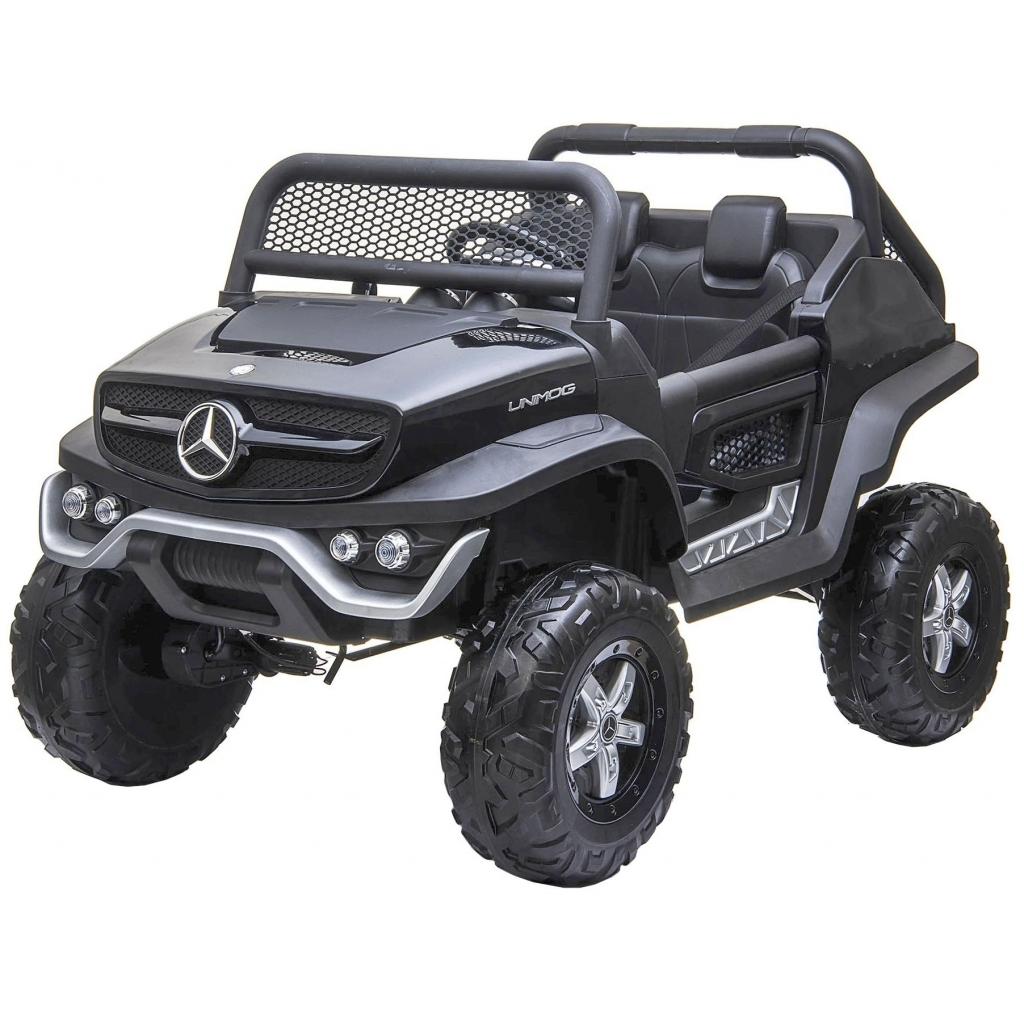 Masinuta electrica 4x4 Premier Mercedes Unimog, 12V, roti cauciuc EVA, scaun piele ecologica, negru