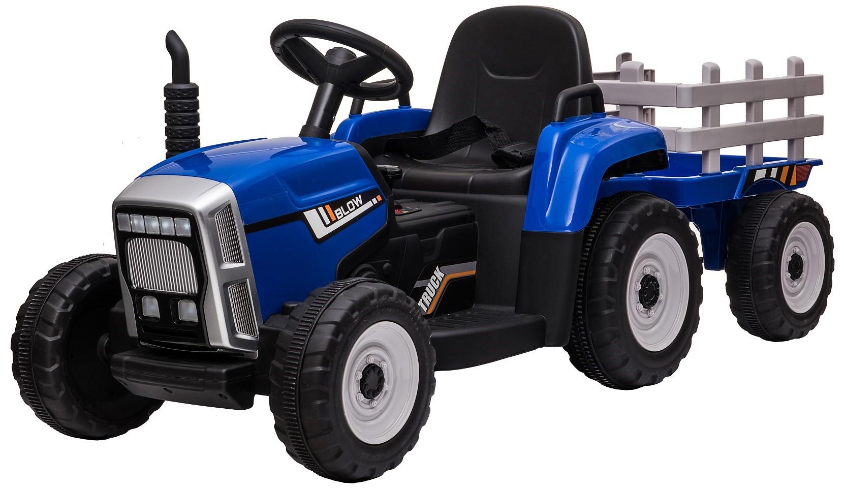 Tractor electric cu remorca Premier Farm, 12V, roti cauciuc EVA, albastru