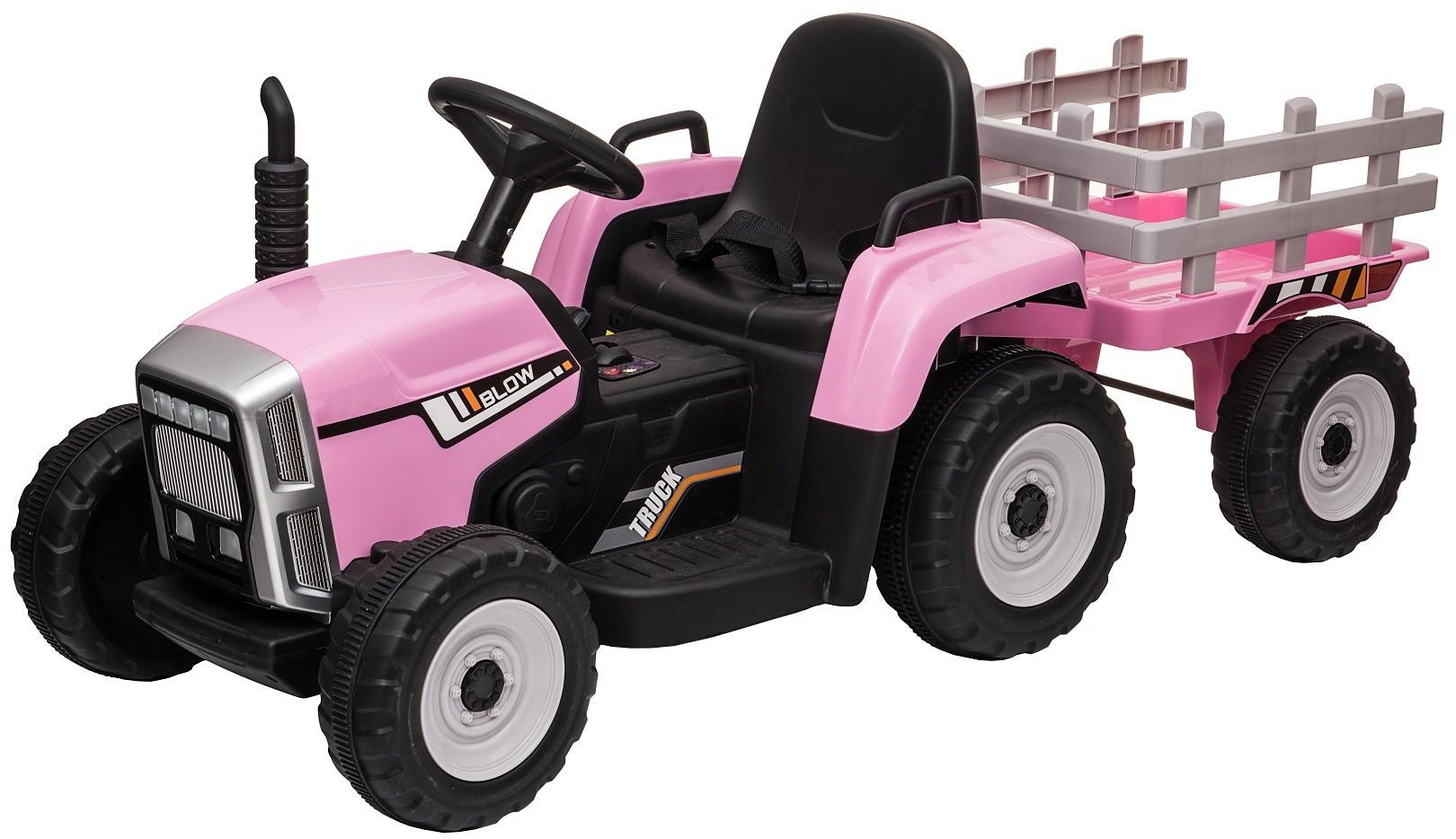 Tractor electric cu remorca Premier Farm, 12V, roti cauciuc EVA, roz