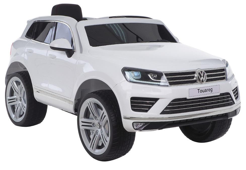 Masinuta electrica Premier Volkswagen Touareg, 12V, roti cauciuc EVA, scaun piele ecologica, alb