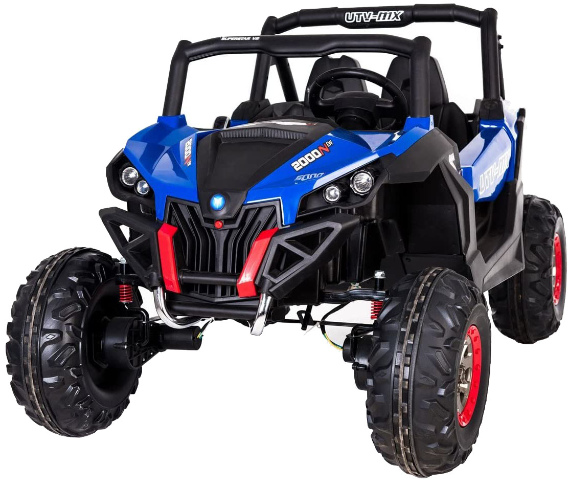 Buggy electric pentru 2 copii Premier 4x4 Superstar, MP4, cu 2 baterii, roti cauciuc EVA, scaun piele ecologica, albastru