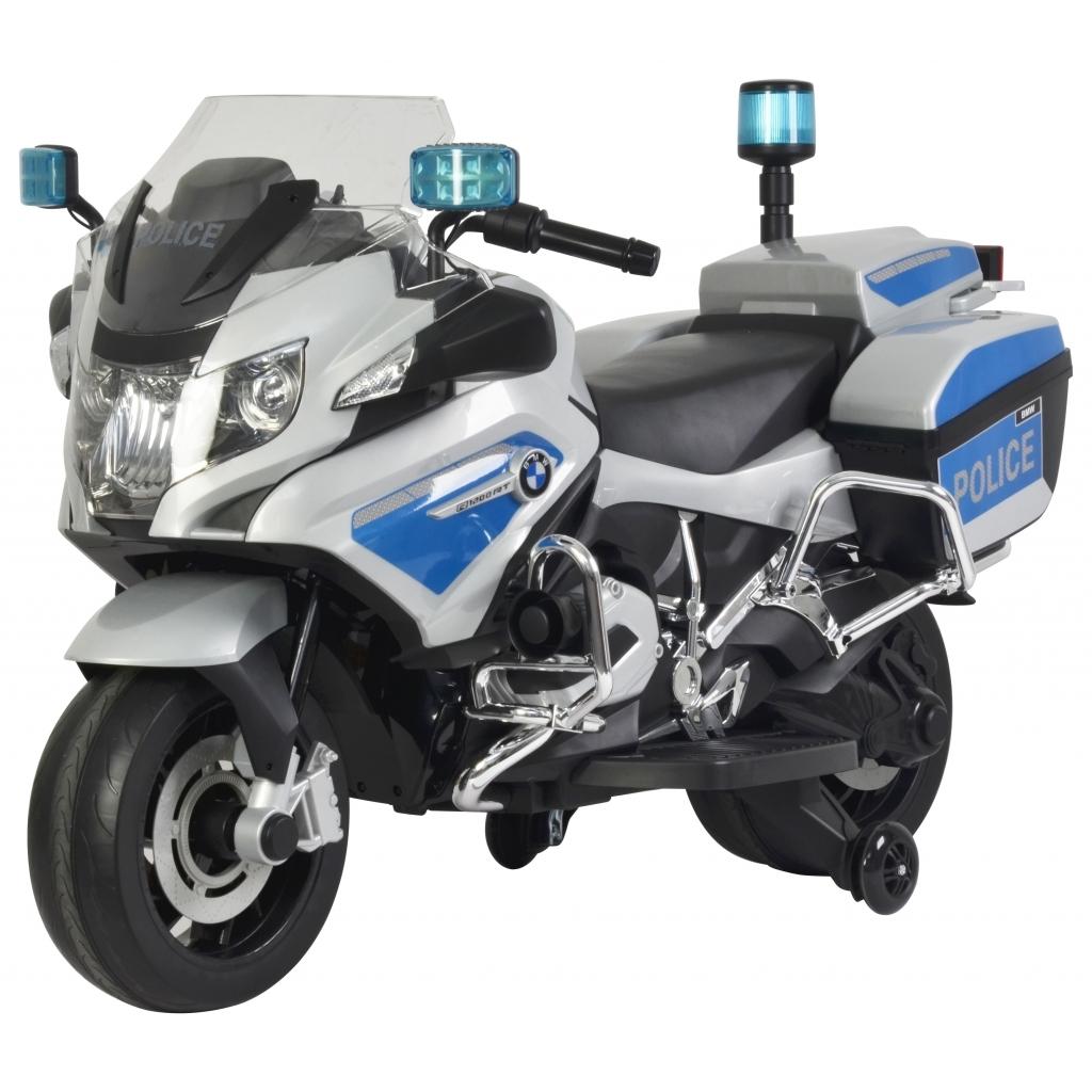 Motocicleta electrica de politie Premier BMW R1200 RT-P, 12V, girofar si sunete, roti ajutatoare, argintie