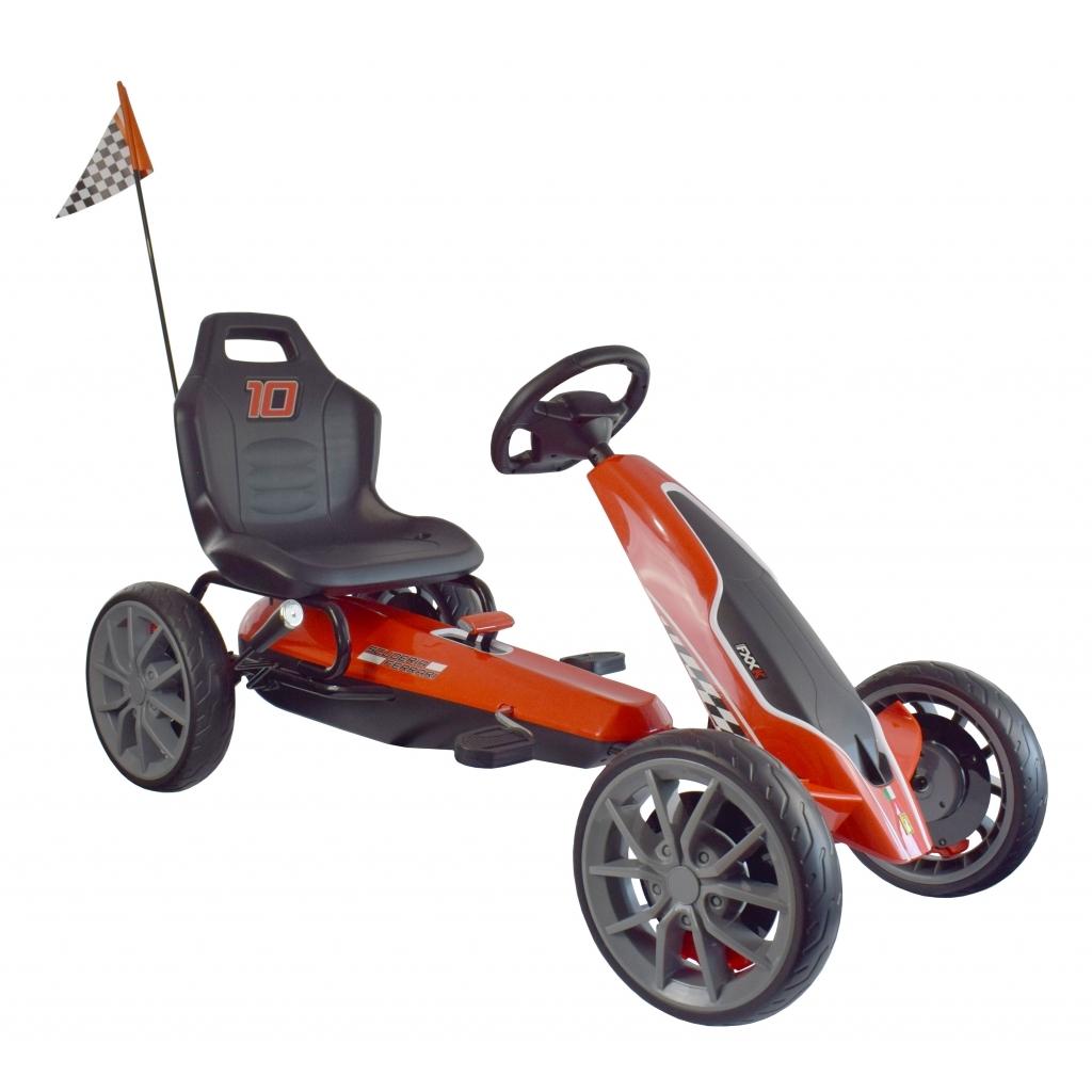 Kart Ferrari cu pedale pentru copii, roti cauciuc Eva, rosu