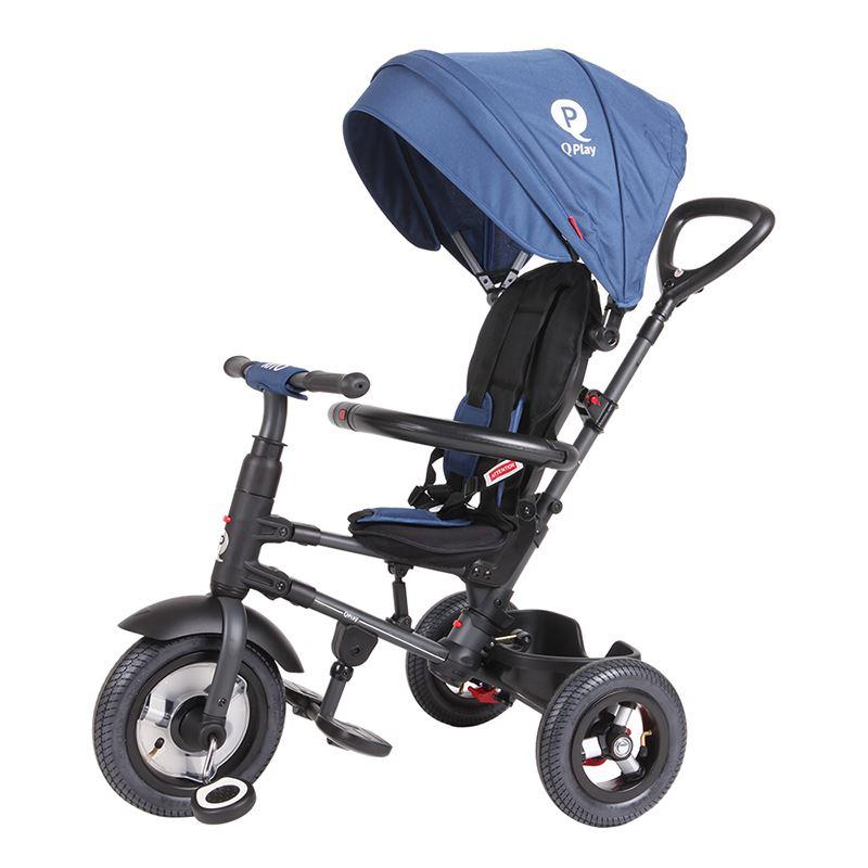 Tricicleta cu roti gonflabile de cauciuc Qplay Rito AIR Albastru Inchis