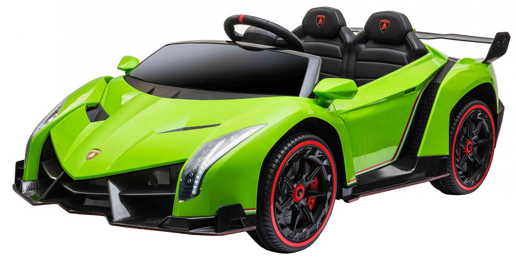 Masinuta electrica 4 x 4 Premier Lamborghini Veneno, 12V, roti cauciuc EVA, scaun piele ecologica, verde