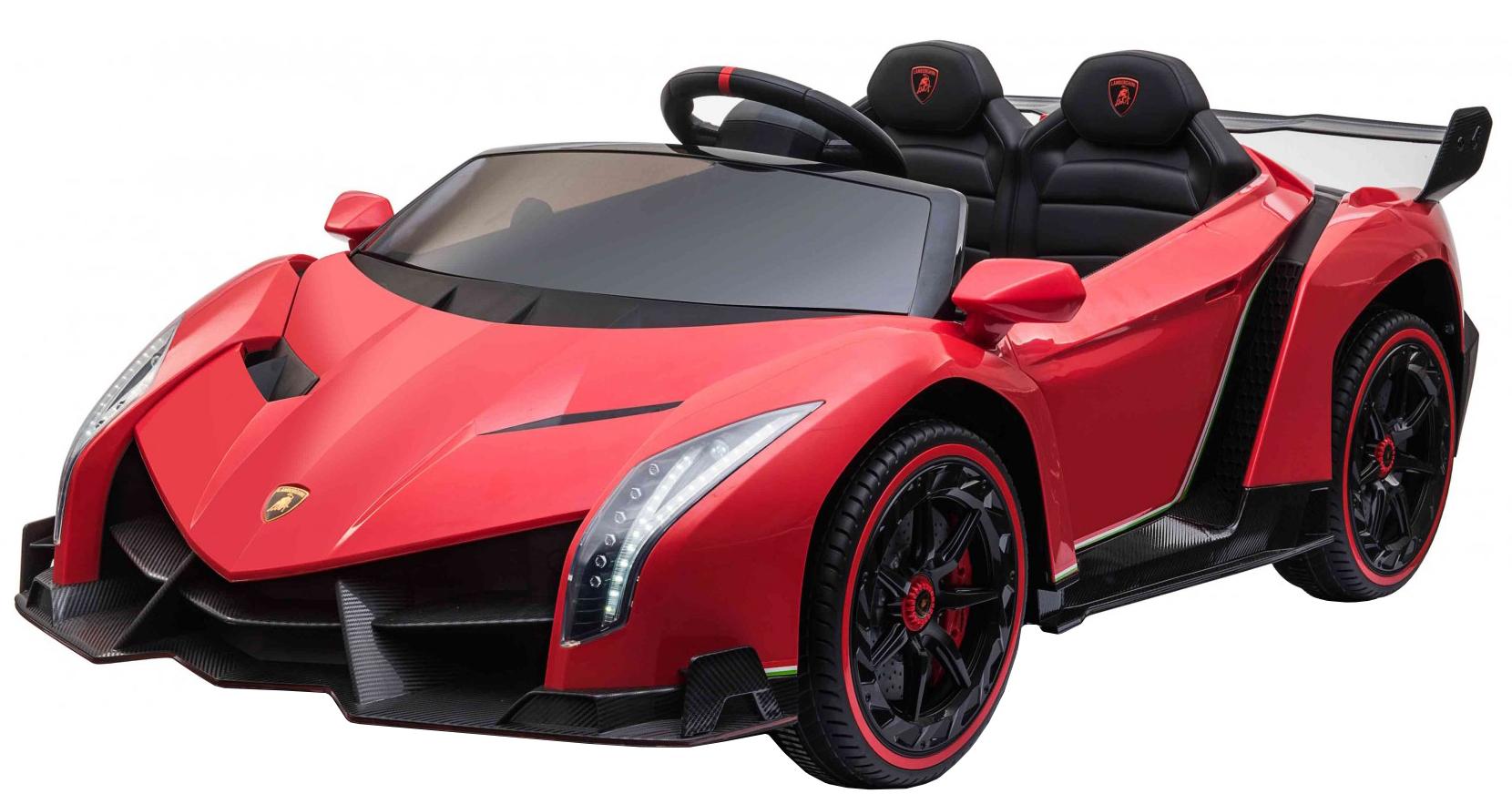 Masinuta electrica 4 x 4 Premier Lamborghini Veneno, 12V, roti cauciuc EVA, scaun piele ecologica, rosu