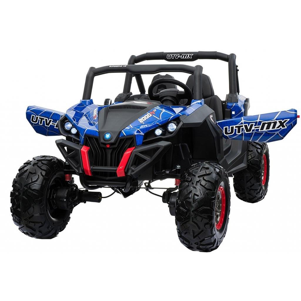 Buggy electric pentru 2 copii Premier 4x4 Superstar, ecran LCD, MP4, cu 2 baterii, roti cauciuc EVA, scaun piele ecologica, spider, albastru