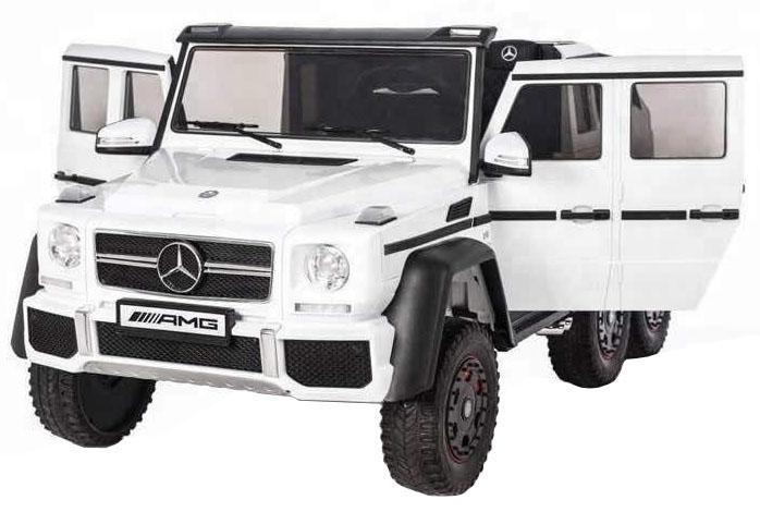 Masinuta electrica Mercedes G63 Duet 6x6, 12V, 6 roti cauciuc EVA, 6 motoare, 2 locuri, scaun piele ecologica, alb
