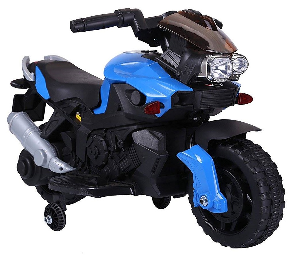 Motocicleta electrica cu 2 roti Premier Rider, 6V, muzica, roti ajutatoare, albastra