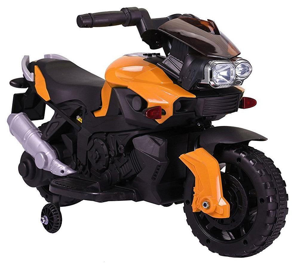 Motocicleta electrica cu 2 roti Premier Rider, 6V, muzica, roti ajutatoare, portocalie