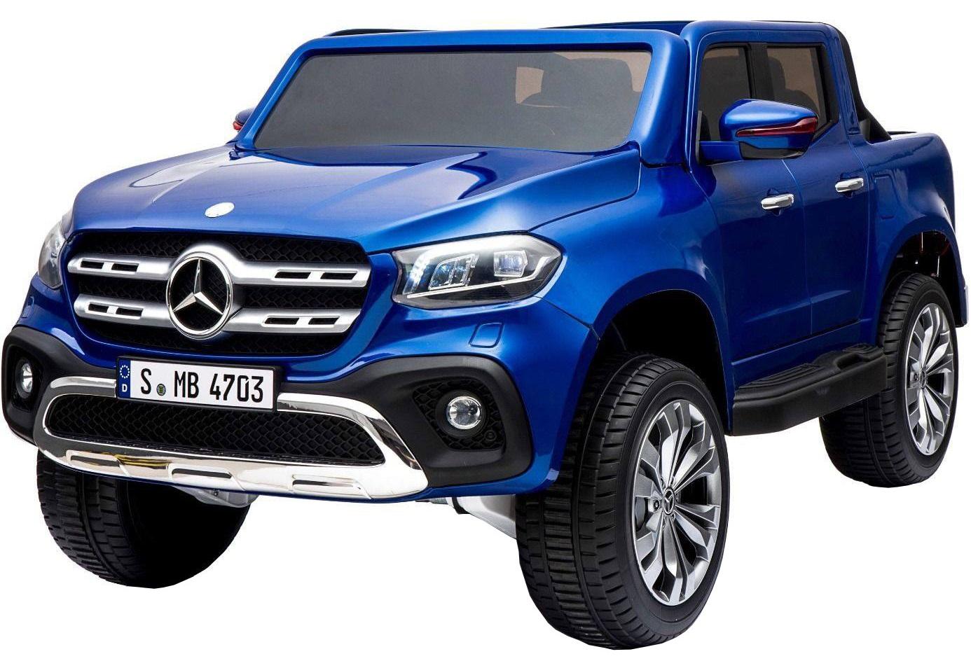 Masinuta electrica 4 x 4 Premier Mercedes X-Class, 12V, MP4, roti cauciuc EVA, scaun piele ecologica, albastru