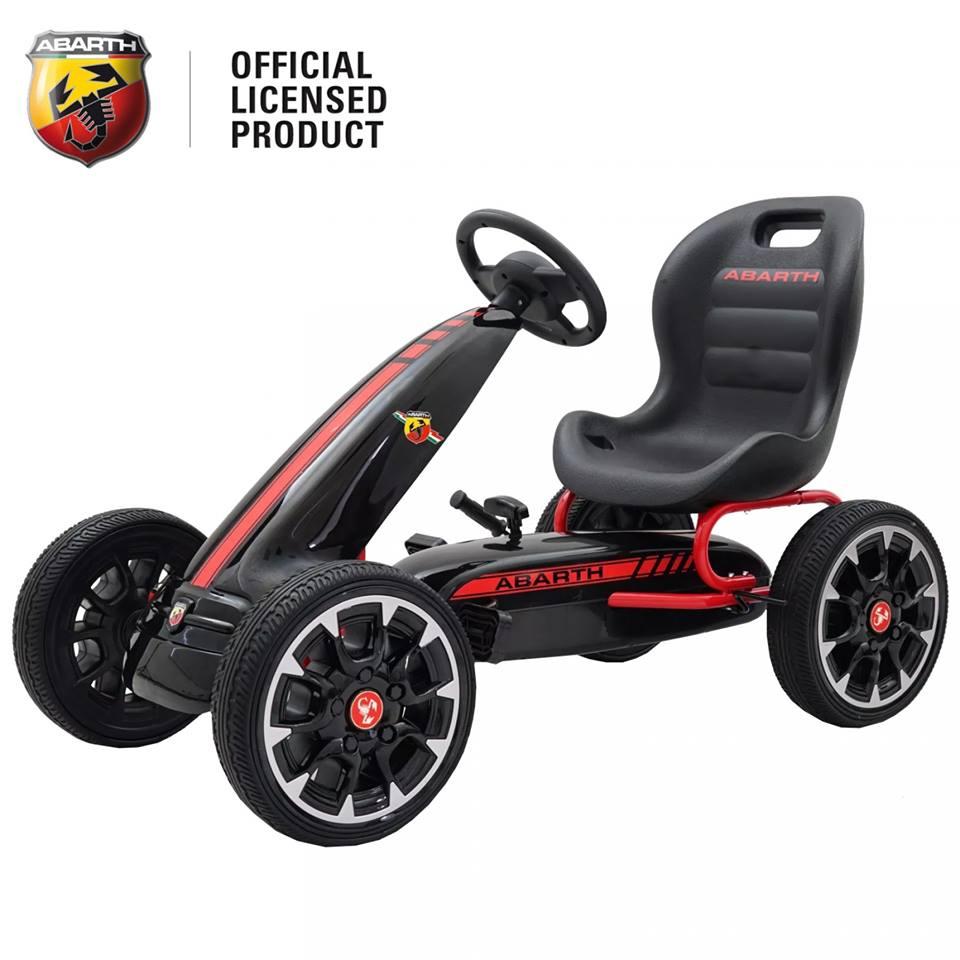 Kart Abarth negru cu pedale pentru copii, roti cauciuc Eva
