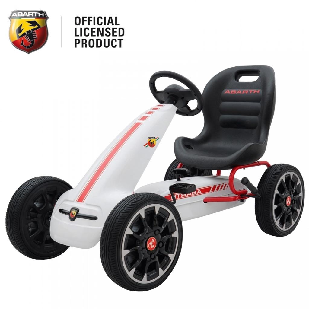 Kart Abarth alb cu pedale pentru copii, roti cauciuc Eva