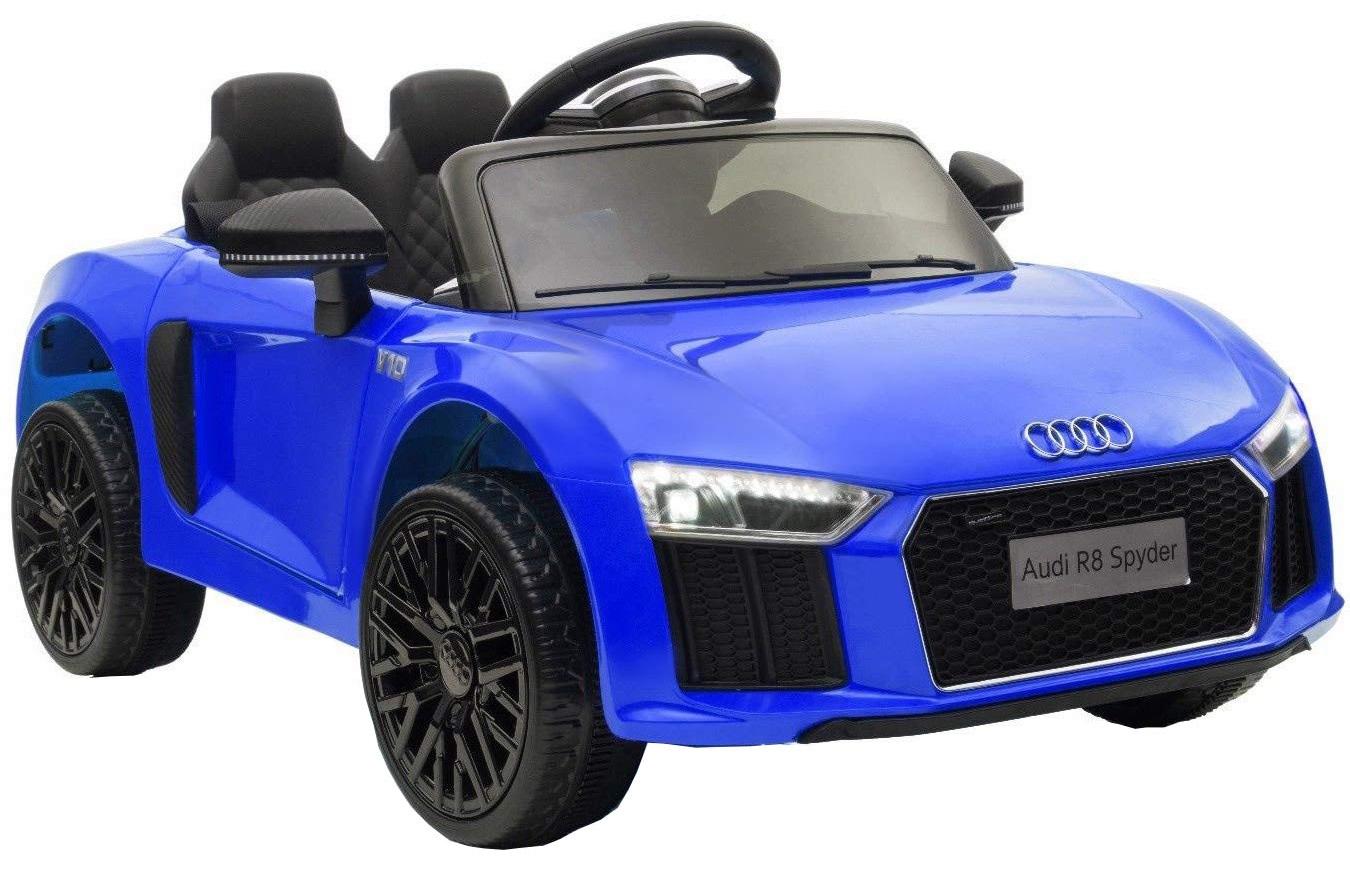 Masinuta electrica Premier Audi R8 Spyder, 12V, roti cauciuc EVA, scaun piele ecologica, albastra