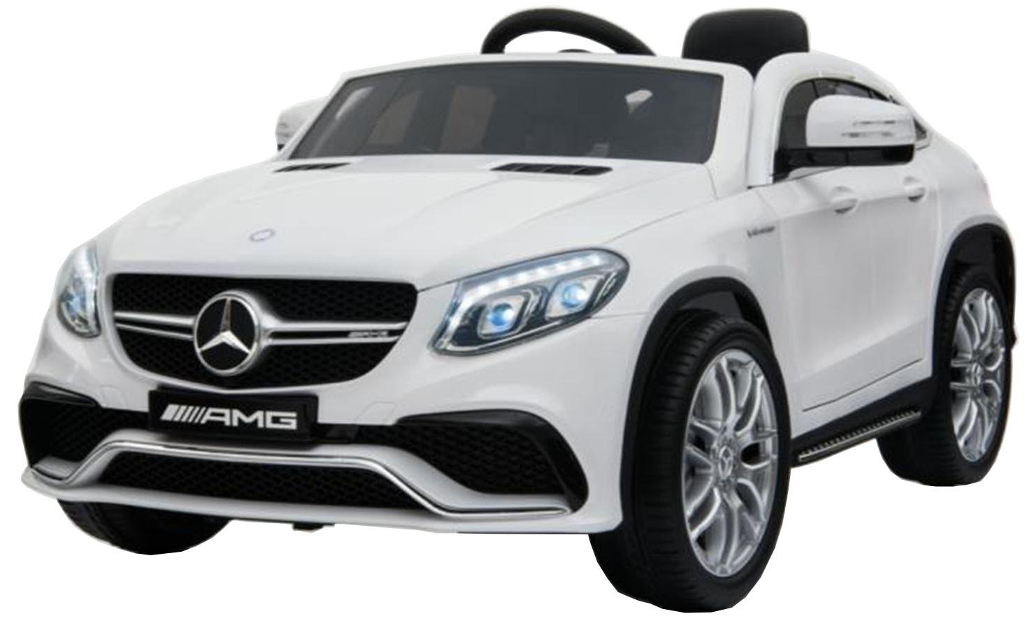 Masinuta electrica Premier Mercedes GLE 63 Coupe, 12V, roti cauciuc EVA, scaun piele ecologica, alba