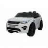Masinuta electrica Premier Land Rover Discovery, 12V, roti cauciuc EVA, scaun piele ecologica, alba